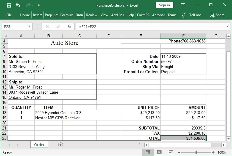 Delphi HotXLS create Purchase Order Spreadsheet